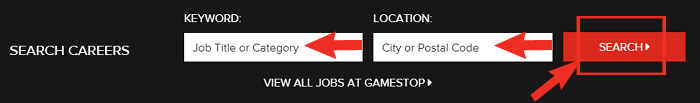 GameStop Job Application Step 1