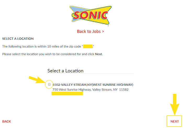 Sonic Job Application & Careers Step 4