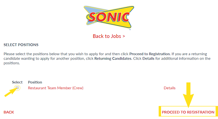 Sonic Job Application & Careers Step 5